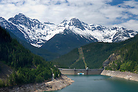 View of the  upper Skagit River Gorge from the top of Ross Dam. Colonial and Pyramid Peaks are in the distance. North Cascades Washington