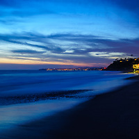 San Clemente California sunset panorama photo. San Clemente is a popular coastal city in Orange County in Southern California in the United States of America. Panoramic photo ratio is 1:3. Copyright ⓒ 2017 Paul Velgos with All Rights Reserved.