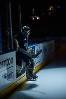 KELOWNA, CANADA - APRIL 25: Carl Stankowski #1 of the Seattle Thunderbirds enters the ice for game 3 against the Kelowna Rockets on April 25, 2017 at Prospera Place in Kelowna, British Columbia, Canada.  (Photo by Marissa Baecker/Shoot the Breeze)  *** Local Caption ***