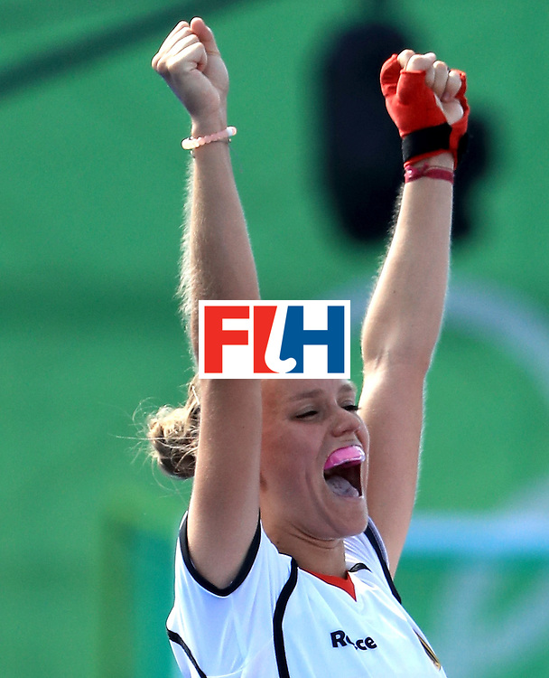 RIO DE JANEIRO, BRAZIL - AUGUST 15:  Cecile Pieper #22 of Germany celebrates a victory over the United States in a quarerfinal match at Olympic Hockey Centre on August 15, 2016 in Rio de Janeiro, Brazil.  (Photo by Sam Greenwood/Getty Images)