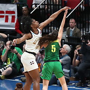 March 31, 2019; Portland, OR, USA; Mississippi State Bulldogs center Teaira McCowan (15) defends Oregon Ducks guard Maite Cazorla (5) in the first half  of  the Elite Eight of the NCAA Women's Tournament at Moda Center.<br /> Photo by Jaime Valdez