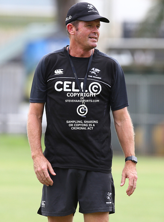 Sean Everitt (Assistant Coach) of the Cell C Sharks during The Cell C Sharks training session at Growthpoint Kings Park in Durban, South Africa. 13th March 2017(Photo by Steve Haag)<br /> <br /> images for social media must have consent from Steve Haag