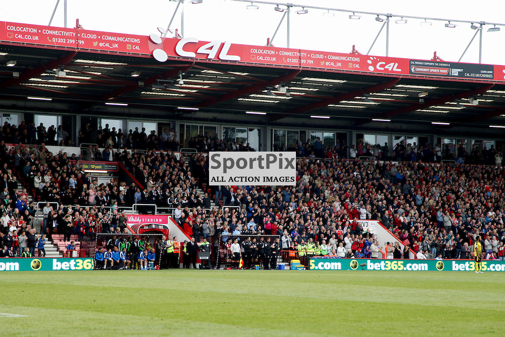 Dean court rises to its feet to applaud the life of Mick Cunningham club photographer During Bournemouth vs Watford on Saturday 3rd of October 2015.