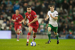 DUBLIN, IRELAND - Tuesday, February 8, 2011: Wales' Hal Robson-Kanu in action against the Republic of Ireland during the opening Carling Nations Cup match at the Aviva Stadium (Lansdowne Road). (Photo by David Rawcliffe/Propaganda)