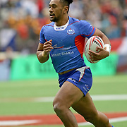 Neria Fomai scored Manu Samoa's only Try in Argentina's 22-7 trouncing of Samoa at the Canada 7's, Day 1, BC Place, Vancouver, British Columbia, Canada.  Photo by Barry Markowitz, 3/10/18, 9:30 am
