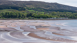 View of shoreline at Applecross on the Apllecross peninsula on the North Coast 500 tourist motoring route in northern Scotland, UK