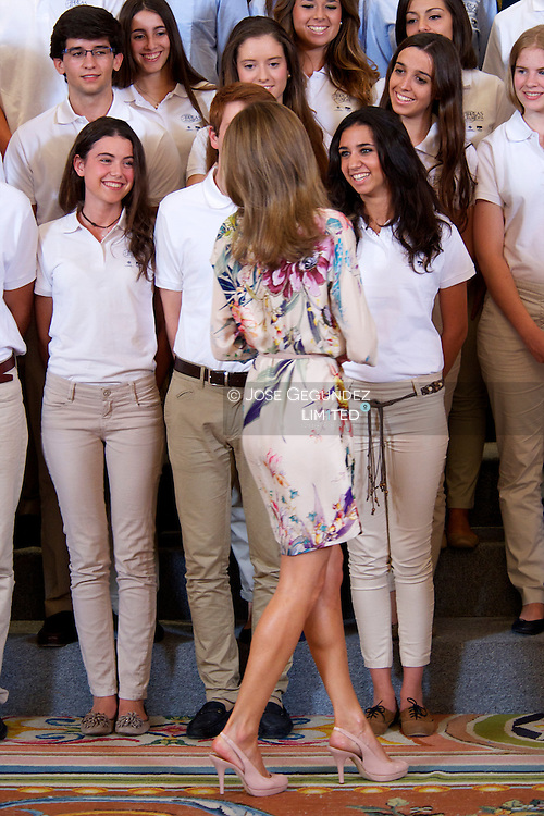 "Prince Felipe and Princess Letizia attend an Audience to participants at the 7th edition of ""European Grant Program, University Francisco de Vitoria"" at Zarzuela Palace in Madrid"