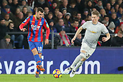Crystal Palace #18 James McArthur battles with Manchester United Midfielder Scott McTominay during the Premier League match between Crystal Palace and Manchester United at Selhurst Park, London, England on 5 March 2018. Picture by Phil Duncan.