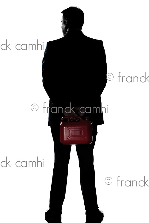 one caucasian man out of gas holding can  full length silhouette in studio isolated white background