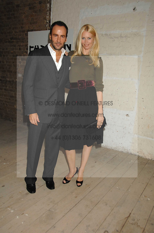 CLAUDIA SCHIFFER and TOM FORD at Fashion Fringe 2007 held at 1 The Piazza, Covent Garden, London on 20th September 2007.<br /><br />NON EXCLUSIVE - WORLD RIGHTS