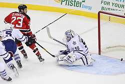 Nov 2; Newark, NJ, USA; New Jersey Devils right wing David Clarkson (23) scores a goal past Toronto Maple Leafs goalie Jonas Gustavsson (50) during the second period at the Prudential Center.