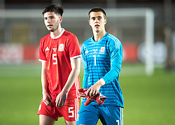 NEWPORT, WALES - Tuesday, October 16, 2018: Wales' Cian Harries and goalkeeper Owen Evans after the UEFA Under-21 Championship Italy 2019 Qualifying Group B match between Wales and Switzerland at Rodney Parade. (Pic by Laura Malkin/Propaganda)