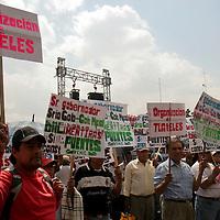 TOLUCA, México.- Alrededor de 4 mil integrantes de Antorcha Campesina de Chimalhuacán se manifestaron por las calles de Toluca exigiendo  más servicios para este municipio, ya que aseveran que no se ha hecho nada por este lugar en muchos años, en donde la población necesita cada día mayores oportunidades de desarrollo, trabajo, espacios educativos, transporte, entre otras cosas. Agencia MVT / Crisanta Espinosa. (DIGITAL)