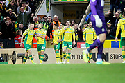 Norwich City midfielder Marco Stiepermann (18)  celebrates the opening goal 1-0 during the EFL Sky Bet Championship match between Norwich City and Blackburn Rovers at Carrow Road, Norwich, England on 27 April 2019.