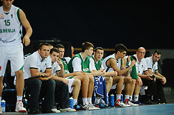Team Slovenia during basketball match between National teams of Slovenia and Germany in Division A of U16 Men European Championship Lithuania 2012, on July 20, 2012 in Panevezys, Lithuania. (Photo by Robertas Dackus / Sportida.com)