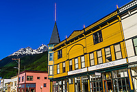 Broadway, the main street of Skagway, Alaska USA. The  area is the Klondike Gold Rush National Historical Park.