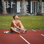JANUARY 24, 2019--MIAMI, FLORIDA,<br /> Kevin Mayer, a world record holder in decathlon from France, laces his shoes before a work out in a track and field facility on the University of Miami.<br /> (Photo by Angel Valentin)