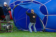 The crew of 'Blues Breaker' prepares the envelope for inflation, Crown of Maine Balloon Fair, Presque Isle, Maine.