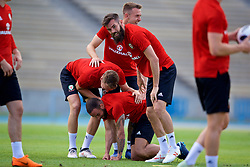 LOS ANGELES, USA - Saturday, May 26, 2018: Wales' Ashley 'Jazz' Richards, Joe Ledley, Chris Gunter and Aaron Ramsey during a training session at the UCLA Drake Track and Field Stadium ahead of the International friendly match against Mexico. (Pic by David Rawcliffe/Propaganda)