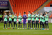 Minutes applause from the AFC Wimbledon team during the EFL Sky Bet League 1 match between Blackpool and AFC Wimbledon at Bloomfield Road, Blackpool, England on 16 November 2019.