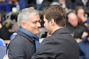 Chelsea manager Jose Mourinho and Tottenham Hotspur manager Mauricio Pochettino during the Barclays Premier League match between Tottenham Hotspur and Chelsea at White Hart Lane, London, England on 29 November 2015. Photo by Alan Franklin.