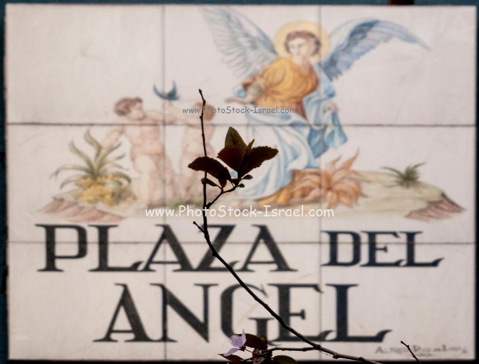 Ceramic street sign in Madrid, Spain Plaza Del Angel