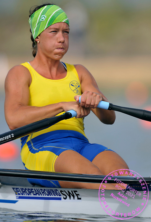 FRIDA SVENSSON (SWEDEN) COMPETES IN WOMEN'S SINGLE SCULLS DURING REGATTA EUROPEAN ROWING CHAMPIONSHIPS IN MONTEMOR-O-VELHO, PORTUGAL...PORTUGAL , MONTEMOR-O-VELHO , SEPTEMBER 11, 2010..( PHOTO BY ADAM NURKIEWICZ / MEDIASPORT ).