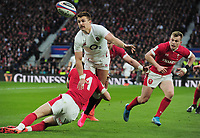 Rugby Union - 2020 Guinness Six Nations Championship - England vs. Wales<br /> <br /> Henry Slade of England evades a tackle from Liam Williams  at Twickenham.<br /> <br /> COLORSPORT/ANDREW COWIE