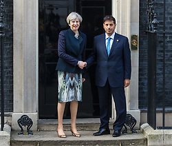 Downing Street, London, March 27th 2017. British Prime Minister Theresa May welcomes the Prime Minister of Qatar Abdullah bin Nasser bin Khalifa Al Thani to 10 Downing Street for talks. <br /> <br /> CREDIT: ©Paul Davey<br /> FOR LICENCING CONTACT: Paul Davey +44 (0) 7966 016 296 paul@pauldaveycreative.co.uk