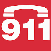 Call 911 symbol on the side of a red fire truck