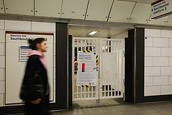 © Licensed to London News Pictures. 22/02/2020. London, UK. A woman walks past a poster at Oxford Circus Underground Station informing passengers about strike action as Bakerloo Line Tube drivers continue their 24 hours strike over unworkable timetable changes. In addition to the strike there are number of engineering works on several tube line which will add disruption to the travel on the weekend. Photo credit: Dinendra Haria/LNP