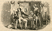 Sober and industrious working man at home with his family. Engraving, 1850