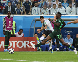 June 26, 2018 - St. Petersburg, Russia - June 26, 2018, Russia, St. Petersburg, FIFA World Cup 2018, First round, Group D, Third round. Football match of Nigeria - Argentina at the stadium of St. Petersburg. Player of the national team Kenneth Omerooo; Christian Pavon. (Credit Image: © Russian Look via ZUMA Wire)