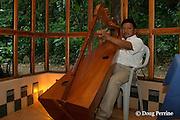 Kekchi Mayan harp performance, Jaguar Paw Jungle Resort, Cayo District, Belize, Central America