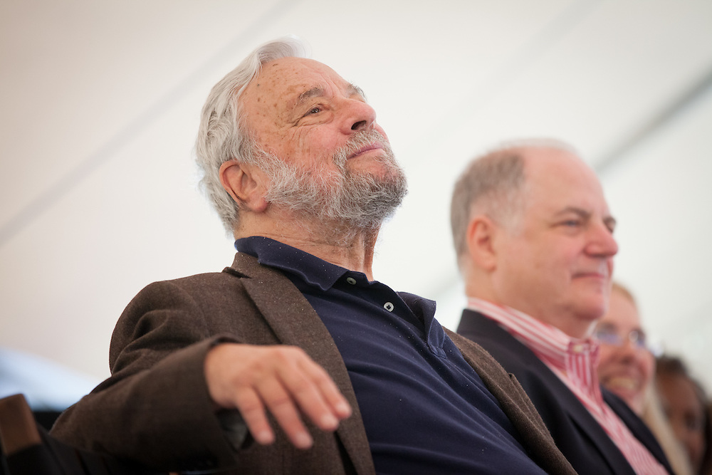 Broadway composer and lyricist Stephen Sondheim (L) sits next to New York Magazine columnist Frank <br /> Rich during a ceremony to award him the Edward MacDowell Medal for lifetime achievement, at the MacDowell Colony, in Peterborough, NH on Sunday, August 11, 2013. Sondheim has won more Tony Awards than any other composer. His hit musicals include &quot;Follies,&quot; ''A Little Night Music&quot; and &quot;Sweeney Todd.&quot; <br /> (Matthew Cavanaugh Photo)
