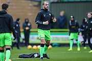 Forest Green Rovers Farrend Rawson(6) warming up during the EFL Sky Bet League 2 match between Forest Green Rovers and Mansfield Town at the New Lawn, Forest Green, United Kingdom on 15 December 2018.