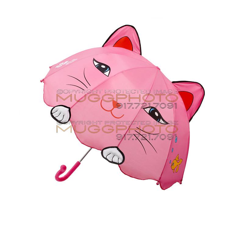 Pink cat umbrella on white background