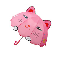Pink cat umbrella on white background