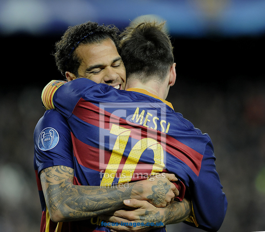 Lionel Messi of FC Barcelona celebrates scoring his second goal with Dani Alves during the UEFA Champions League match at Camp Nou, Barcelona<br /> Picture by Stefano Gnech/Focus Images Ltd +39 333 1641678<br /> 24/11/2015