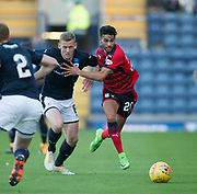 Dundee&rsquo;s Faissal El Bakhtaoui and Raith&rsquo;s Scott Robertson - Raith Rovers v Dundee, Betfred Cup at Starks Park, Kirkcaldy, Photo: David Young<br /> <br />  - &copy; David Young - www.davidyoungphoto.co.uk - email: davidyoungphoto@gmail.com