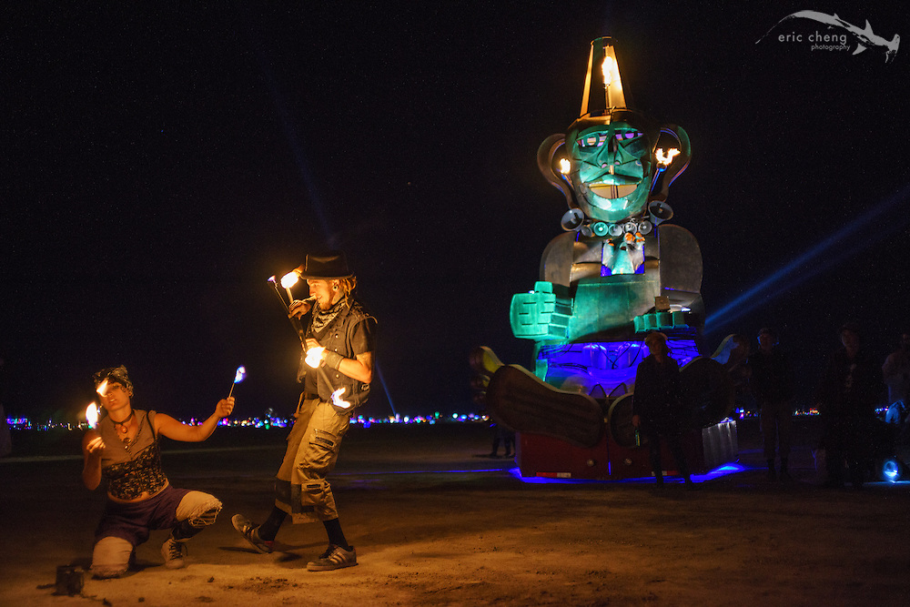 Fire dancers with flaming monkey thing. Burning Man 2014
