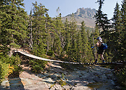"A hiker crosses a swing bridge over Paradise Creek, on the trail to Cobalt Lake, in Glacier National Park, Montana, USA. Since 1932, Canada and USA have shared Waterton-Glacier International Peace Park, which UNESCO declared a World Heritage Site (1995) containing two Biosphere Reserves (1976). Rocks in the park are primarily sedimentary layers deposited in shallow seas over 1.6 billion to 800 million years ago. During the tectonic formation of the Rocky Mountains 170 million years ago, the Lewis Overthrust displaced these old rocks over newer Cretaceous age rocks. Glaciers carved spectacular U-shaped valleys and pyramidal peaks as recently as the Last Glacial Maximum (the last ""Ice Age"" 25,000 to 13,000 years ago). Of the 150 glaciers existing in the mid 1800s, only 25 active glaciers remain in the park as of 2010, and all may disappear by 2020, say climate scientists."