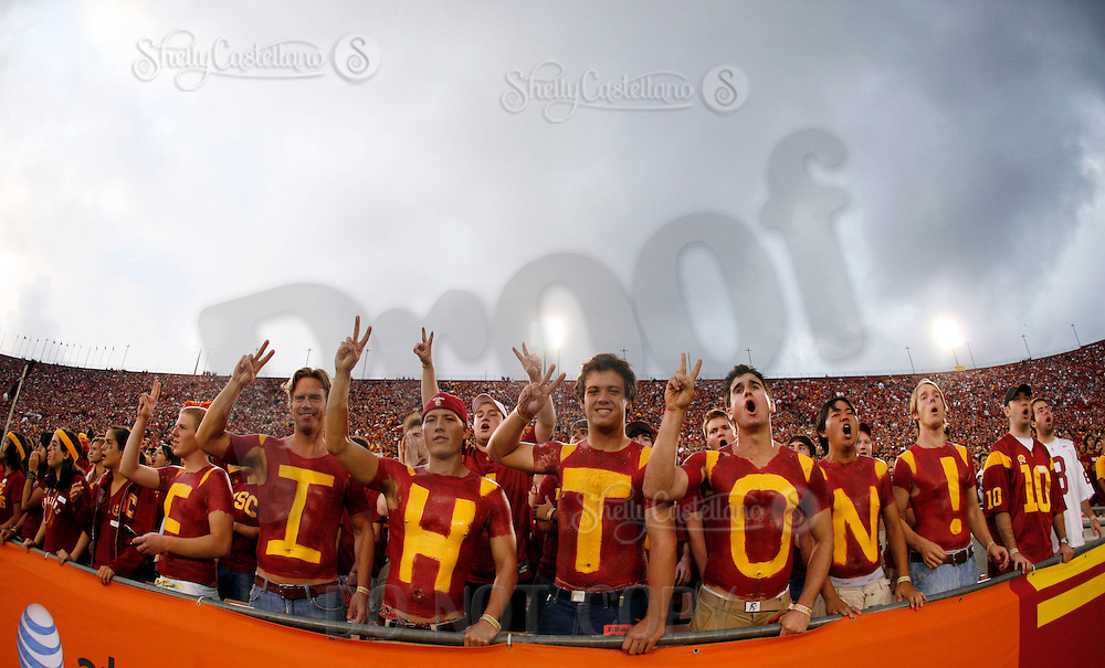 4 October 2008:  Body painted fans say FIGHT ON! in the student section of the stands during the NCAA College Football Pac-10 conference USC Trojans 44-10 win over the University of Oregon Ducks at the Los Angeles Memorial Coliseum in Los Angeles, California.