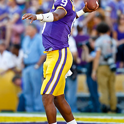 October 16, 2010; Baton Rouge, LA, USA; LSU Tigers quarterback Jordan Jefferson (9) during warm ups prior to kickoff against the McNeese State Cowboys at Tiger Stadium. LSU defeated McNeese State 32-10. Mandatory Credit: Derick E. Hingle