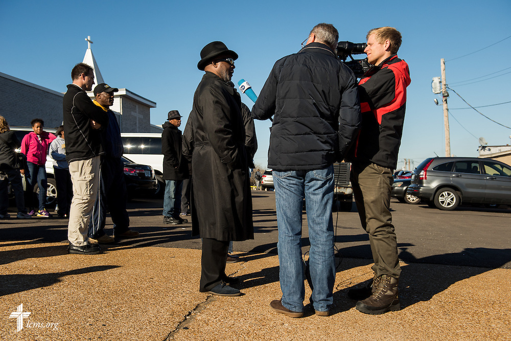 The Rev. Dr. Willie Stallworth, pastor of Unity Lutheran Church in East St. Louis, Ill., interviews with Germany's international broadcaster, Deutsche Welle, in Ferguson, Mo., on Tuesday, Nov. 25, 2014. LCMS Communications/Erik M. Lunsford