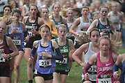 Dec 2, 2017; Portland, OR, USA; Runners compete in the girls' race during the 2017 Nike Cross Nationals at Glendoveer Golf Course.