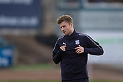 17th March 2019, Dens Park, Dundee, Scotland; Ladbrokes Premiership football, Dundee versus Celtic; Ethan Robson of Dundee during the warm up before the match