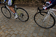 Belgium, March 31 2013: The Oude-Kwaremont is a cobbled climb. Ronde van Vlaandaren 2013..Copyright 2013 Peter Horrell.