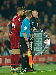 LIVERPOOL, ENGLAND - Wednesday, February 27, 2019: Liverpool's manager Jürgen Klopp prepares to bring on substitute captain Jordan Henderson during the FA Premier League match between Liverpool FC and Watford FC at Anfield. (Pic by Paul Greenwood/Propaganda)