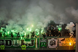 Green Dragons, supporters of Olimpija during football match between NK Rudar and NK Olimpija Ljubljana in Round #35 of Prva liga Telekom Slovenije 2015/16, on May 14, 2016, in Stadium Ob jezeru, Velenje, Slovenia. NK Olimpija with this victory became Slovenian National Champion 2016. Photo by Vid Ponikvar / Sportida